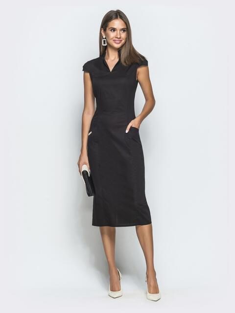 "Чёрное платье-футляр с рукавом ""крылышко"" 39732, фото 1"