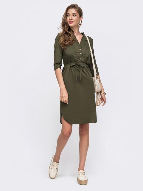 Платье-рубашка прямого кроя на кнопках цвета хаки 49619, фото 1