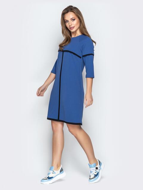 Синее платье-трапеция из креп-дайвинга со вставками - 21013, фото 1 – интернет-магазин Dressa