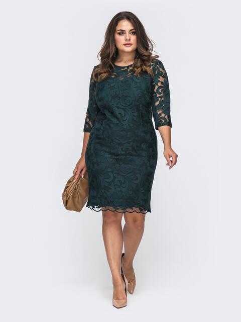 Вечернее платье батал приталенного кроя зеленое 50986, фото 1
