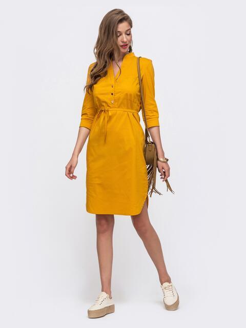 Желтое платье-рубашка прямого кроя на кнопках  49618, фото 1