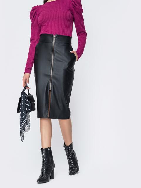 Чёрная юбка из эко-кожи со змейкой спереди 44928, фото 1