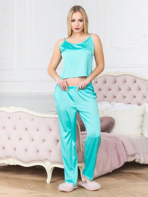 Голубая пижама с топом на бретелях и брюками - 18917, фото 1 – интернет-магазин Dressa