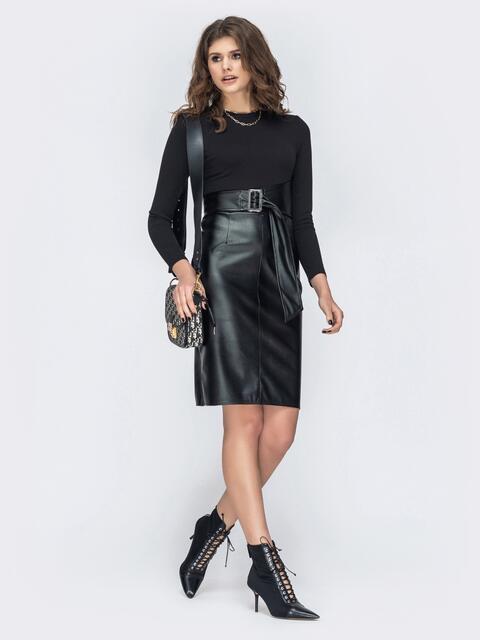 Комбинированное платье с юбкой из эко-кожи чёрное 44959, фото 1