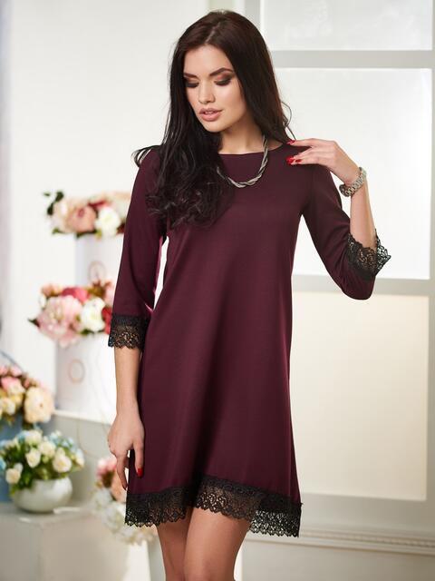 Платье-трапеция со вставками из кружева бордовое - 12513, фото 1 – интернет-магазин Dressa
