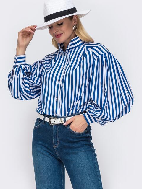 Блузка из софта в полоску синего цвета 49532, фото 1– интернет-магазин Dressa