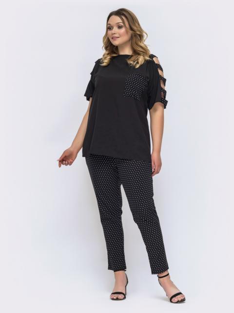 Брючный комплект батал с блузкой черного цвета 46230, фото 1
