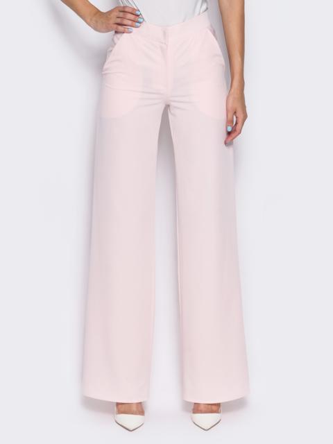 Брюки-клёш из костюмного крепа розовые - 14399, фото 1 – интернет-магазин Dressa