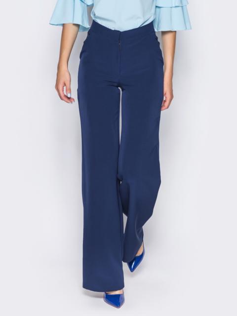 Брюки-клёш из костюмного крепа тёмно-синие - 14397, фото 1 – интернет-магазин Dressa
