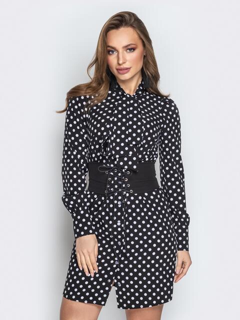 Чёрное платье в горох с воротником аскот и корсетом - 21223, фото 1 – интернет-магазин Dressa