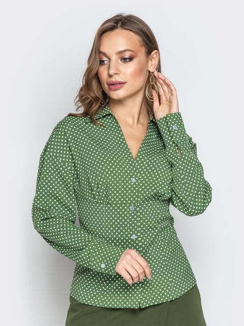 Оливковая блузка в горох с завышенной талией - 21222, фото 1 – интернет-магазин Dressa
