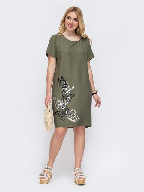 Платье большого размера цвета хаки с принтом 49055, фото 1