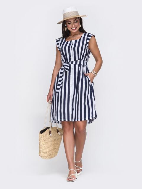 Платье большого размера в тёмно-синюю полоску - 49739, фото 1 – интернет-магазин Dressa