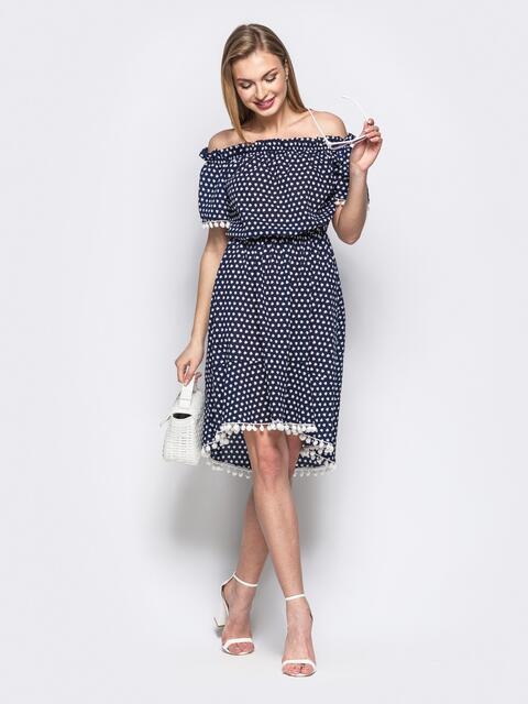 Принтованное платье с окантовкой и открытыми плечами синее 21590, фото 1
