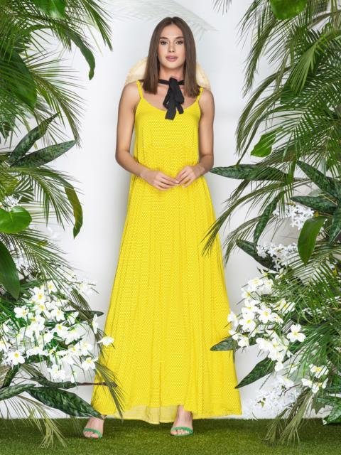 Свободный сарафан в горох с завышенной талией желтый - 21943, фото 1 – интернет-магазин Dressa