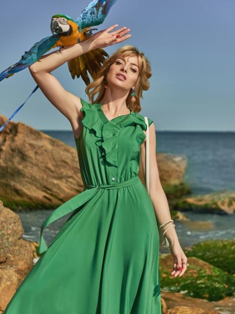 Зелёное платье с оборкой на лифе и резинкой в поясе - 48487, фото 1 – интернет-магазин Dressa