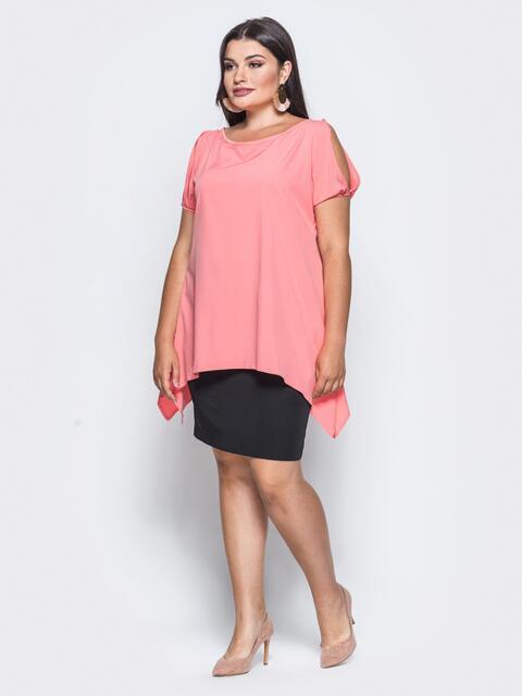 Блузка без застёжек с удлиненными боками розовая - 14193, фото 1 – интернет-магазин Dressa