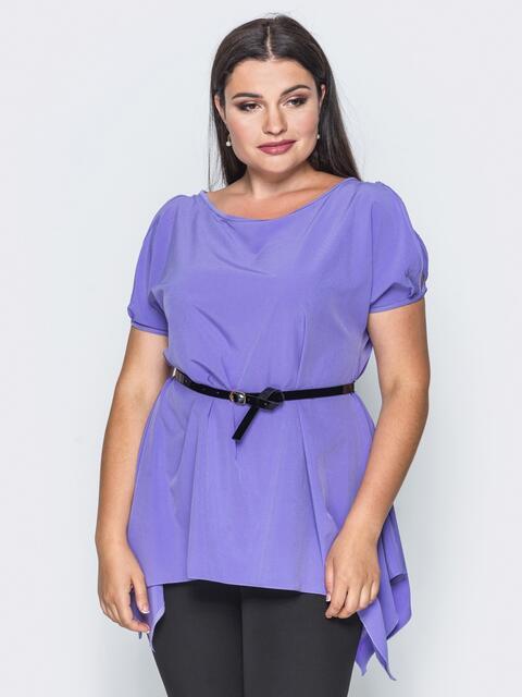 Блузка без застёжек с удлиненными боками сиреневая - 14192, фото 1 – интернет-магазин Dressa