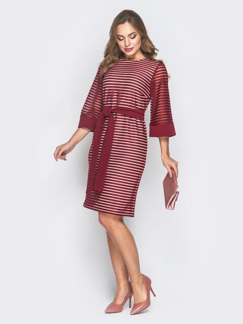 """Бордовое платье из фактурной сетки с рукавом """"колокол"""" - 18628, фото 1 – интернет-магазин Dressa"""
