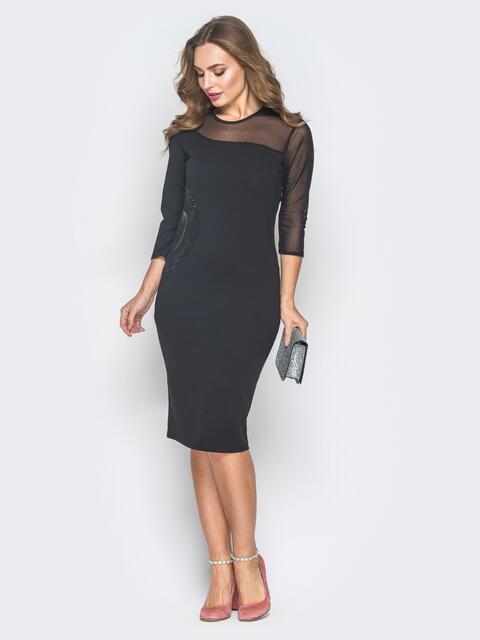 Черное платье-футляр со вставкой на кокетке  - 18625, фото 1 – интернет-магазин Dressa