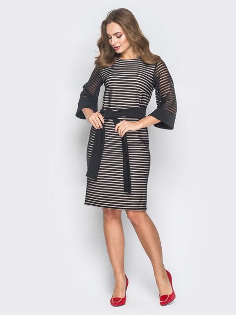 """Чёрное платье из фактурной сетки с рукавом """"колокол"""" - 18626, фото 1 – интернет-магазин Dressa"""