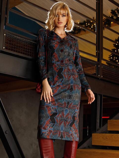 Чёрное платье-рубашка из трикотажа с принтом 52643, фото 1