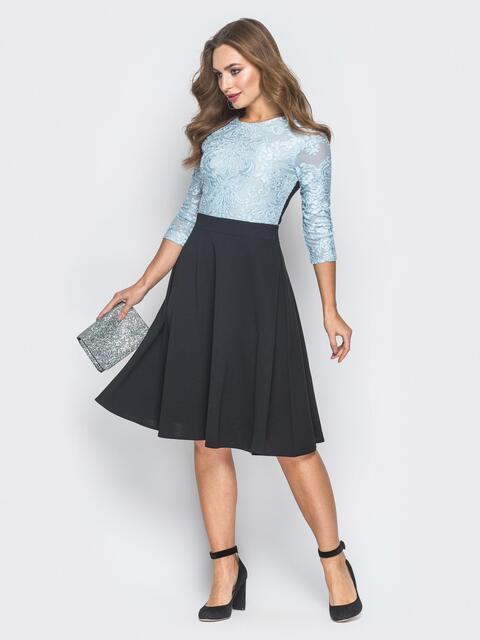 Черное платье с бархатным узором - 18639, фото 1 – интернет-магазин Dressa