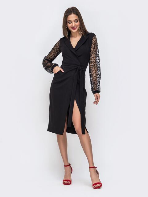 Чёрное платье с объемными рукавами из фактурной сетки 42768, фото 1