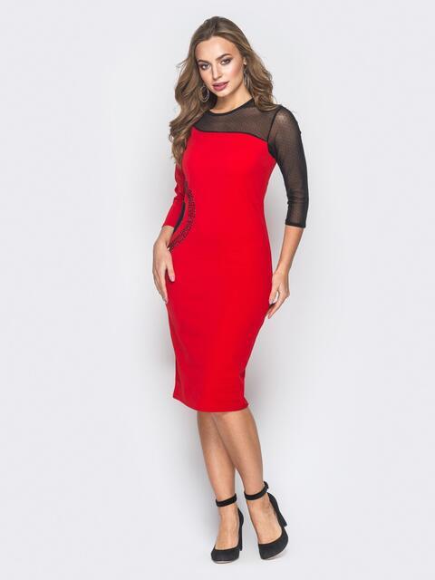 Красное платье-футляр со вставкой на кокетке  - 18624, фото 1 – интернет-магазин Dressa
