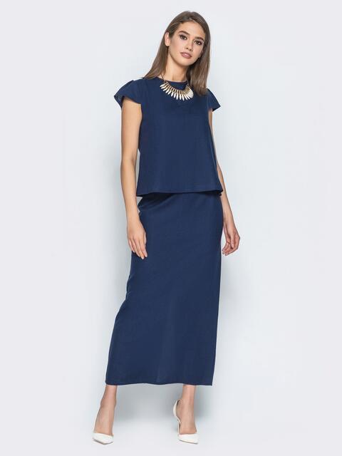 Льняной комплект с юбкой-миди тёмно-синий - 14466, фото 1 – интернет-магазин Dressa