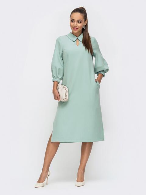 Мятное платье прямого кроя с отложным воротником 50685, фото 1