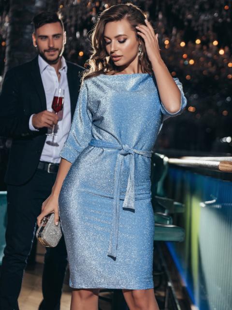 Платье из люрекса с цельнокроенным рукавом голубое - 42759, фото 1 – интернет-магазин Dressa
