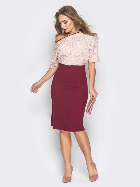 Платье на одно плечо с верхом из аппликации бордовое - 18634, фото 1 – интернет-магазин Dressa
