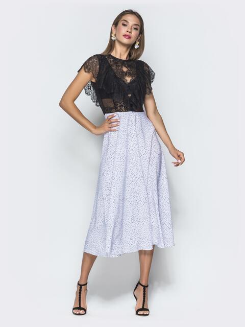 Платье с гипюровым верхом и юбкой-полусолнце - 40116, фото 1 – интернет-магазин Dressa