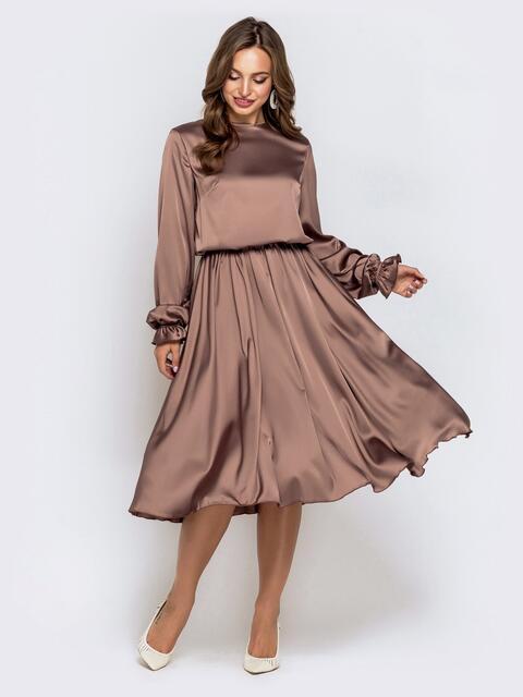 Платье с напуском по талии и расклешенной юбкой коричневое 40467, фото 1