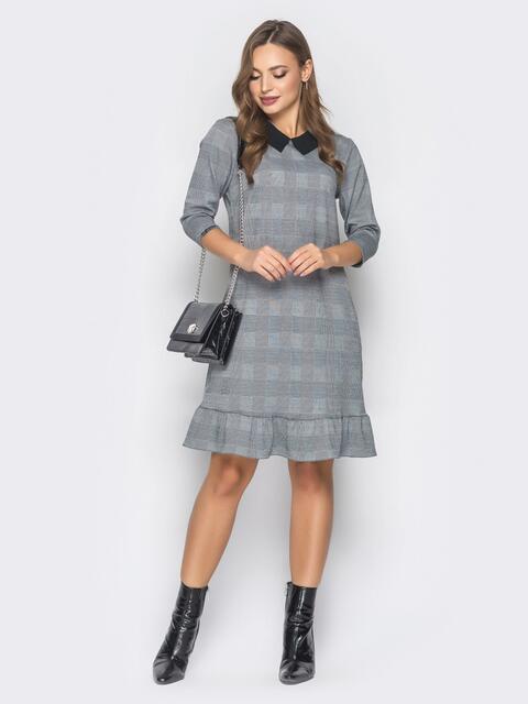 Платье в серую клетку с отложным воротником - 19040, фото 1 – интернет-магазин Dressa