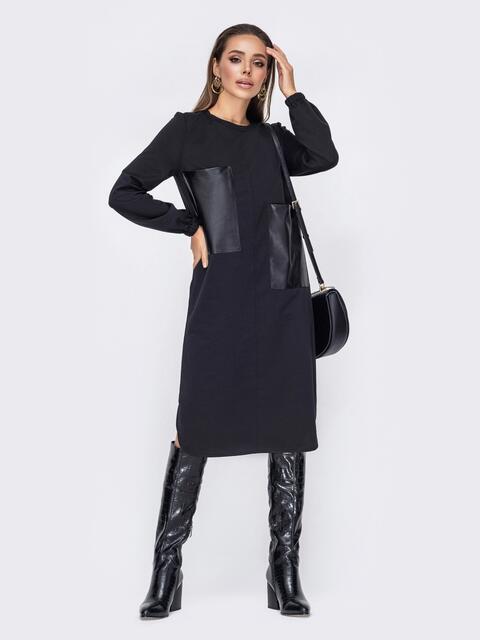 Прямое платье с накладными карманами из эко-кожи черное 52645, фото 1