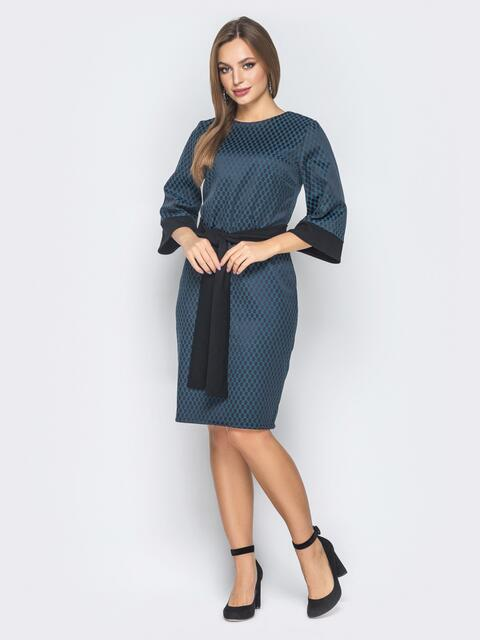 Тёмно-синее платье приталенного кроя с поясом в комплекте - 19033, фото 1 – интернет-магазин Dressa