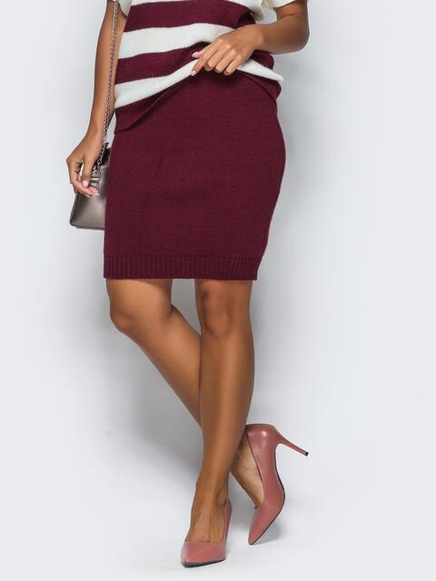 Юбка розового цвета мелкой вязки - 17126, фото 1 – интернет-магазин Dressa