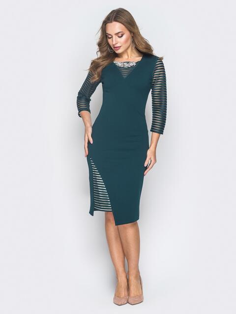 Зеленое платье со вставками из полупрозрачной сетки - 18622, фото 1 – интернет-магазин Dressa