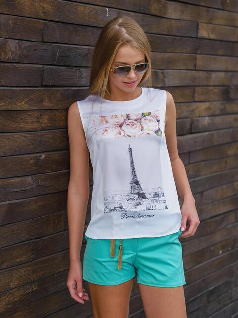 """Блузка из софта с принтом """"Эйфелева башня"""" - 13174, фото 1 – интернет-магазин Dressa"""