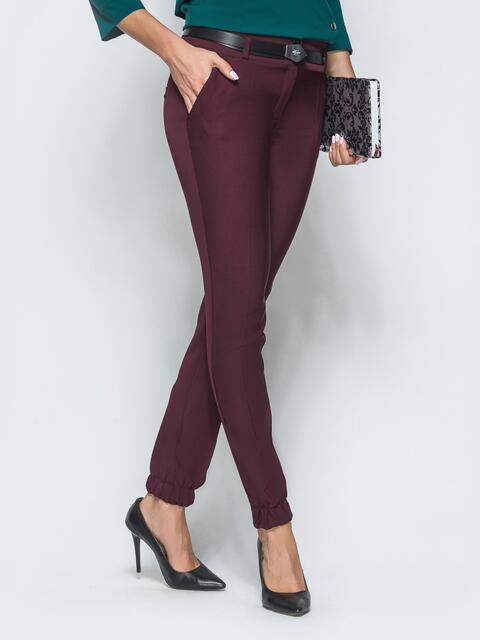 Бордовые брюки-дудочки с резинкой по низу 39777, фото 1