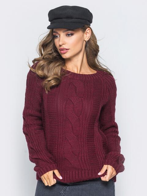 Бордовый джемпер с длинным рукавом реглан - 15799, фото 1 – интернет-магазин Dressa