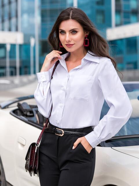 Классическая рубашка с удлиненной спинкой белая - 39791, фото 1 – интернет-магазин Dressa