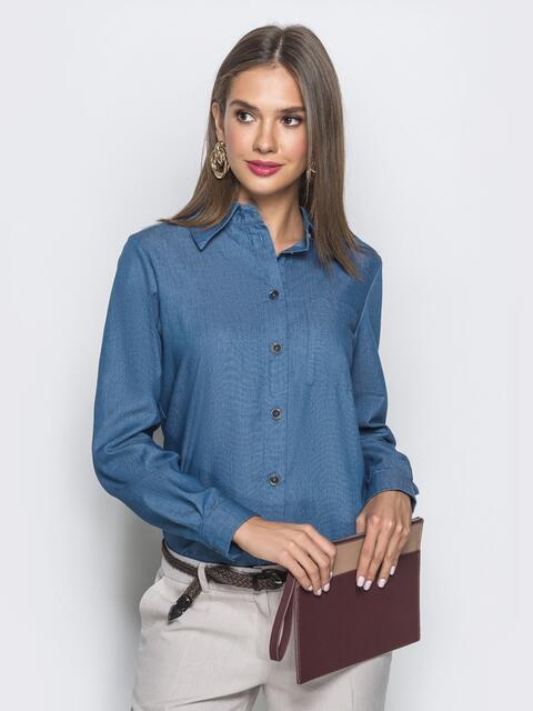 Классическая рубашка с удлиненной спинкой синяя - 39793, фото 1 – интернет-магазин Dressa