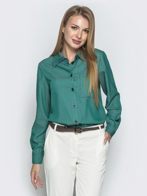 Классическая рубашка с удлиненной спинкой зеленая - 39792, фото 1 – интернет-магазин Dressa