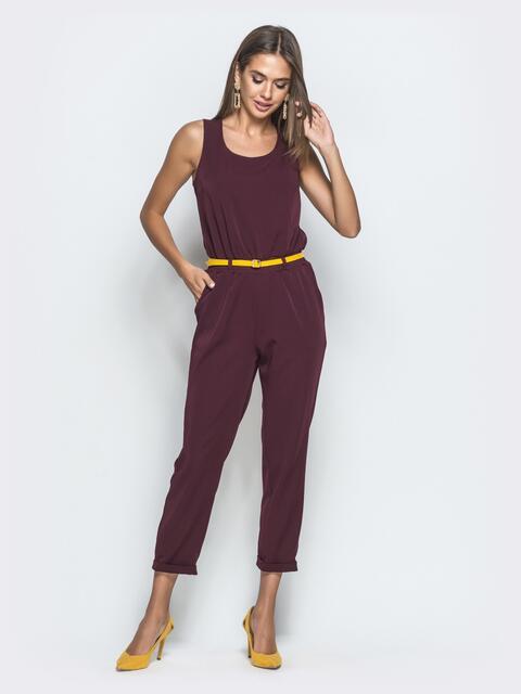 Комбинезон бордового цвета с укороченными брюками - 39786, фото 1 – интернет-магазин Dressa