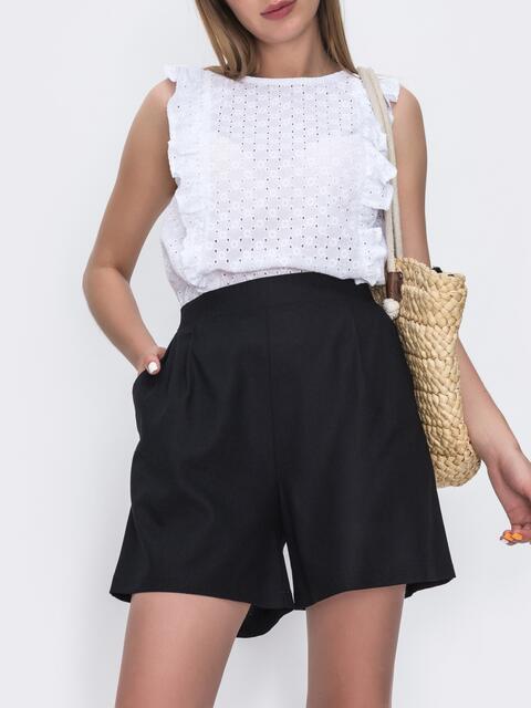 Льняные шорты с высокой посадской чёрные 49563, фото 1