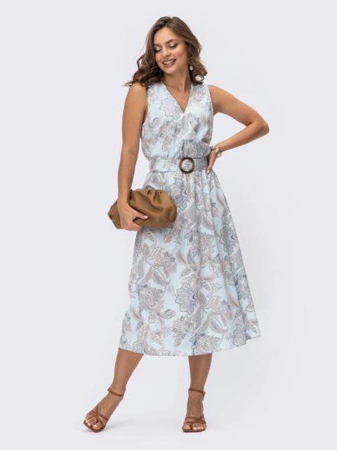 Расклешенное платье без рукавов с принтом и фиксированным запахом бирюзовое 54166, фото 1