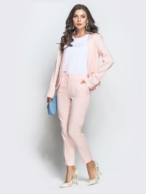 Розовый комплект из жакета и укороченных брюк 39662, фото 1